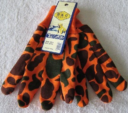 Orange/Brown Camo Jersey Gloves