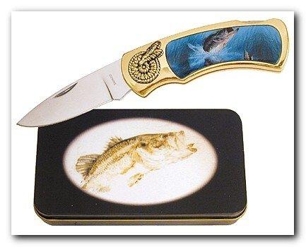 Bass Fishing Knife in Metal Tin