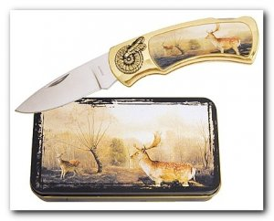 Deer Knife in Metal Tin