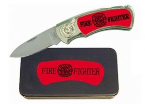 Fire Fighter Knife in Metal Tin