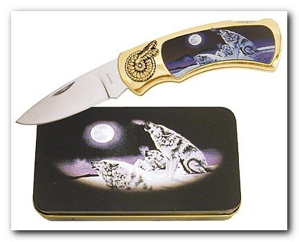 Wolf Under Moon Knife in Metal Tin
