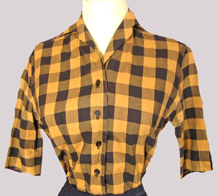 STENO CHIC VINTAGE 50'S BOBBIE BROOKS BLOUSE CHECKERED PRINT