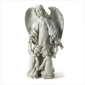 Angel with Two Kids Statue