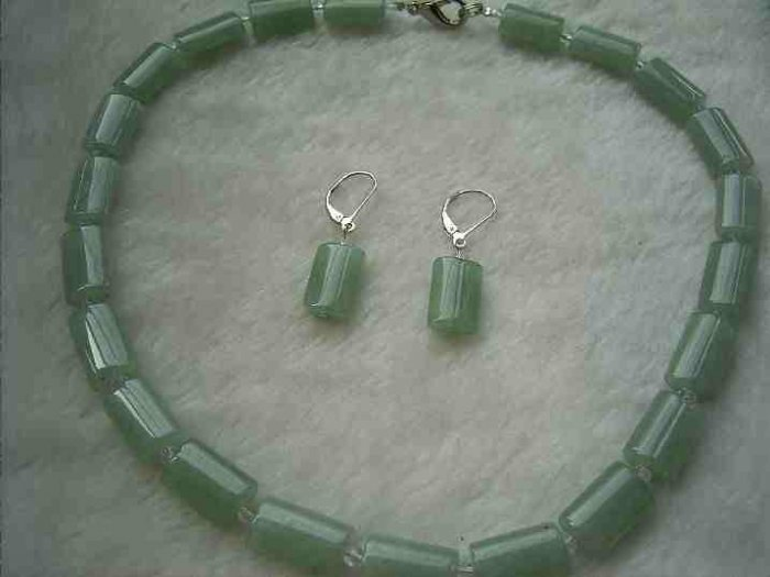 quadrate green aventurine clear crystal necklace 925 silver earring