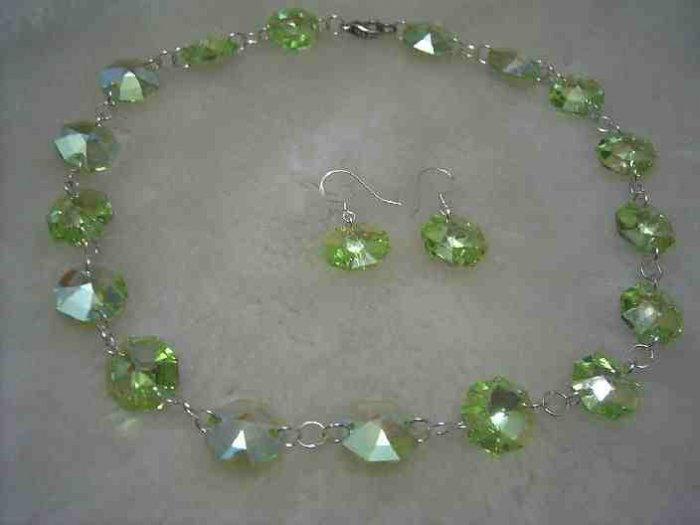 Swarovski green crystal necklace earring