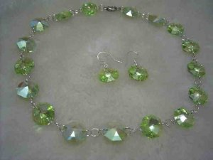 Swarovski green crystal necklace earring