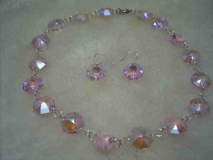 Swarovski pink crystal necklace earring