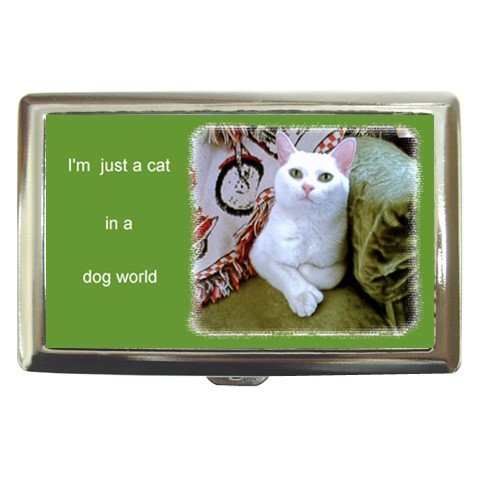Cute White Cat in a Dog's World Cigarette Money Case