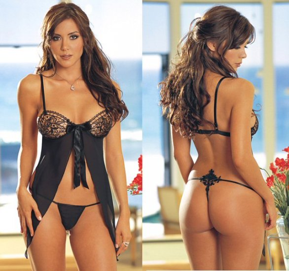 2 Piece Open Back Babydoll Set with Embroidered Lace Cups