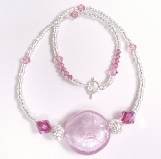 Cotton Candy Handcrafted Necklace with Swavorski crystals