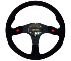 NRG 320mm Sport Suede Steering Wheel w/ 2 button