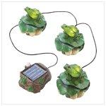 Solar Frog Trio Garden Décor