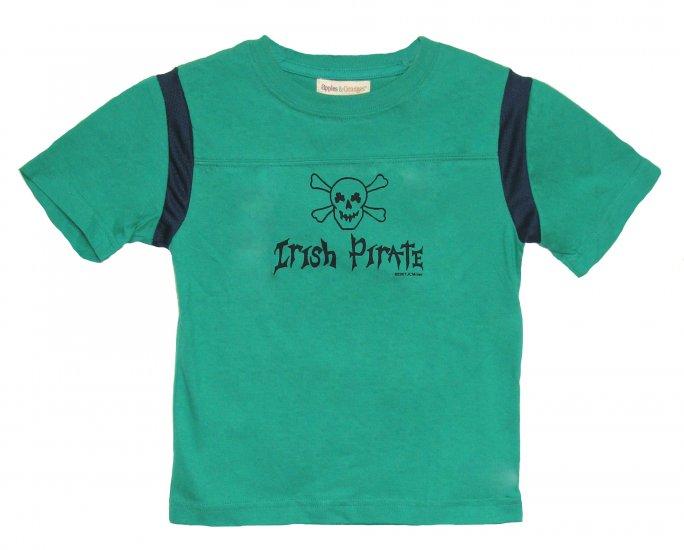 Irish Pirate Skull Shamrock Shirt (green/navy)