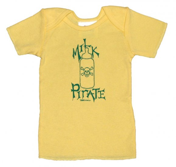 Milk Pirate Baby Bottle with Skull Yellow (6, 12, 24mos.)