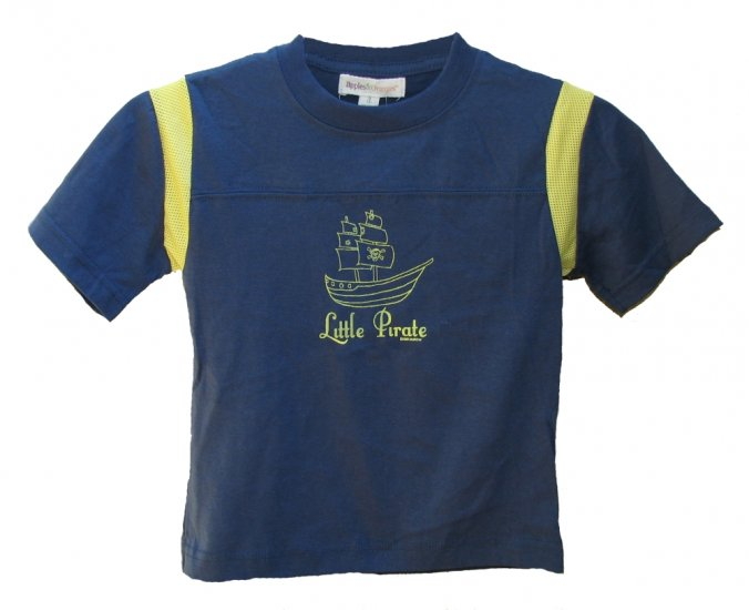 Little Pirate Jolly Roger Boat Navy/Yellow Mesh Shirt (2T, 4T and 6)