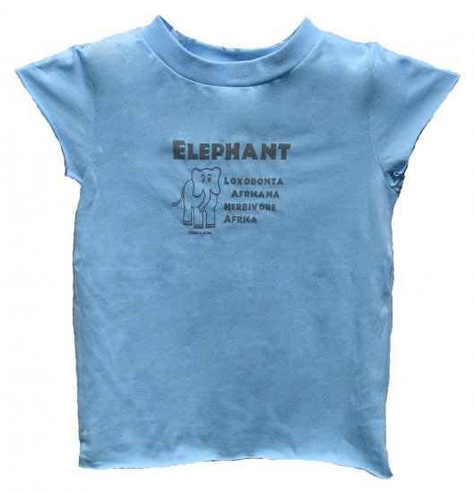 Elephant Loxodonta Africana Herbivore Blue Shirt (Girls 2T, 4T and 6)