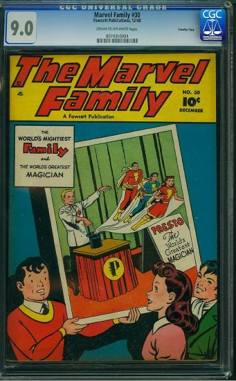 MARVEL FAMILY #30 CGC 9.0 HIGHEST GRADED COPY!