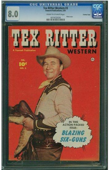 Tex Ritter Western #3 (CGC 8.0) HIGHEST GRADED