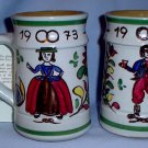 Austrian Stoneware Hand MadeColorful Wedding Mugs 1973 35th Anniversary