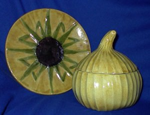 Hand Made in New England Onion Soup Bowl and Plate