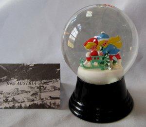 Vintage Austrian Glass Perzy Snowglobe Sledding Kids