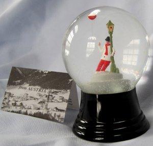 Vintage Austrian Glass Perzy Snowglobe Jolly Beer Drinker