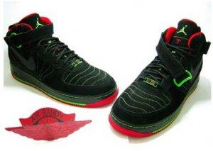 Men jordan Fusions Black Green and Red