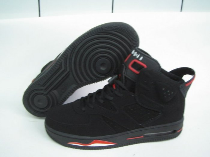 Men jordan Fusions Black Red and White