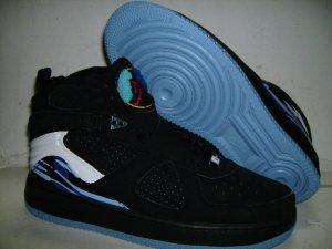 Men jordan Fusions Black White and Blue