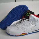 Men jordan Fusions Blue White Yellow Green and Black