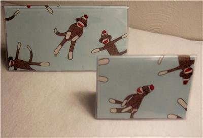 Funky Sock Monkey Checkbook Cover Set