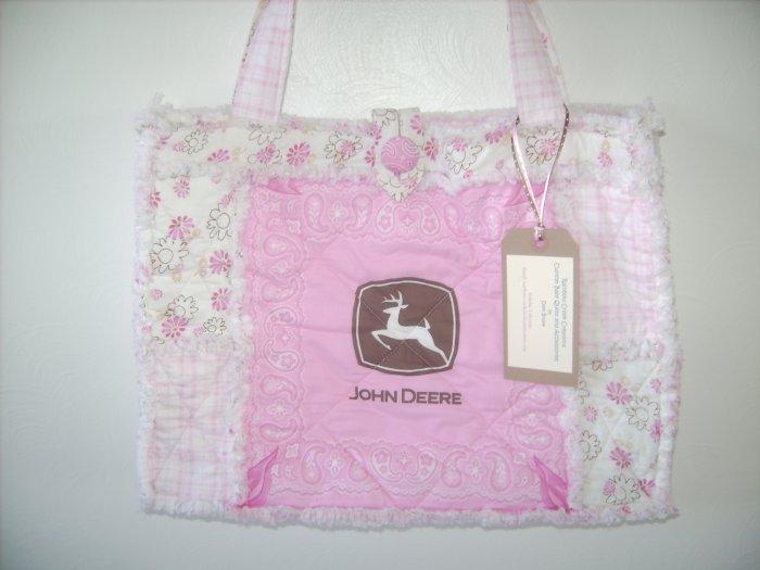 John Deere Pink & Chocolate Rag Quilt Diaper Bag Tote