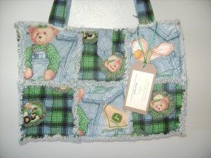 John Deere Blue Jean Teddy Rag Quilt Bag