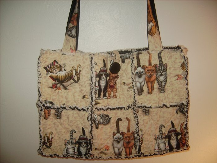 Beach Kitties Large Rag Quilt Tote