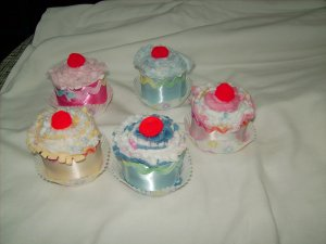 Burp Cloth Cupcakes- Baby Boy