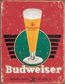 Budweiser Beer Glass Tin Sign #1483