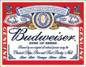 Budweiser Beer Can Label Tin Sign #979