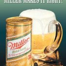 Miller Beer Makes It Right Tin Sign #1017