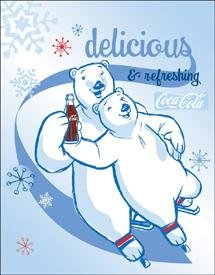 Coca-Cola Polar Bear Ice Skates Tin Sign #1234