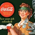 Coca-Cola Female Machinist Tin Sign #1303