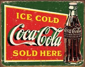 Coca-Cola Bottles Sold Here Tin Sign #1393