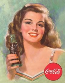 Coca-Cola Beautiful Brunette Tin Sign #1227