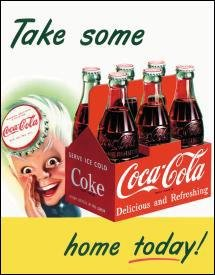 Coca-Cola 6 Pack Bottles Tin Sign #1050