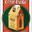 Coca-Cola Handy 6 Pack Bottles Tin Sign #1049