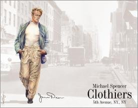 James Dean Michael Spencer Clothiers Tin Sign #636