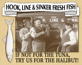 Three Stooges Fish Market Tin Sign #664