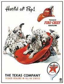 Texaco Gasoline Fire Chief DalmationTin Sign #827