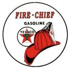 Texaco Gasoline Fire Chief Round Tin Sign #204