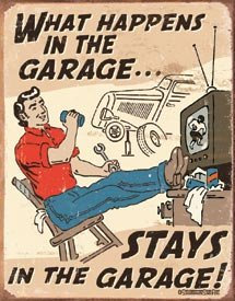 What Happens In the Garage Tin Sign #1496