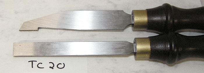 CROWN Pair of 20 TPI Thread Chasers Woodturning Tools TC20